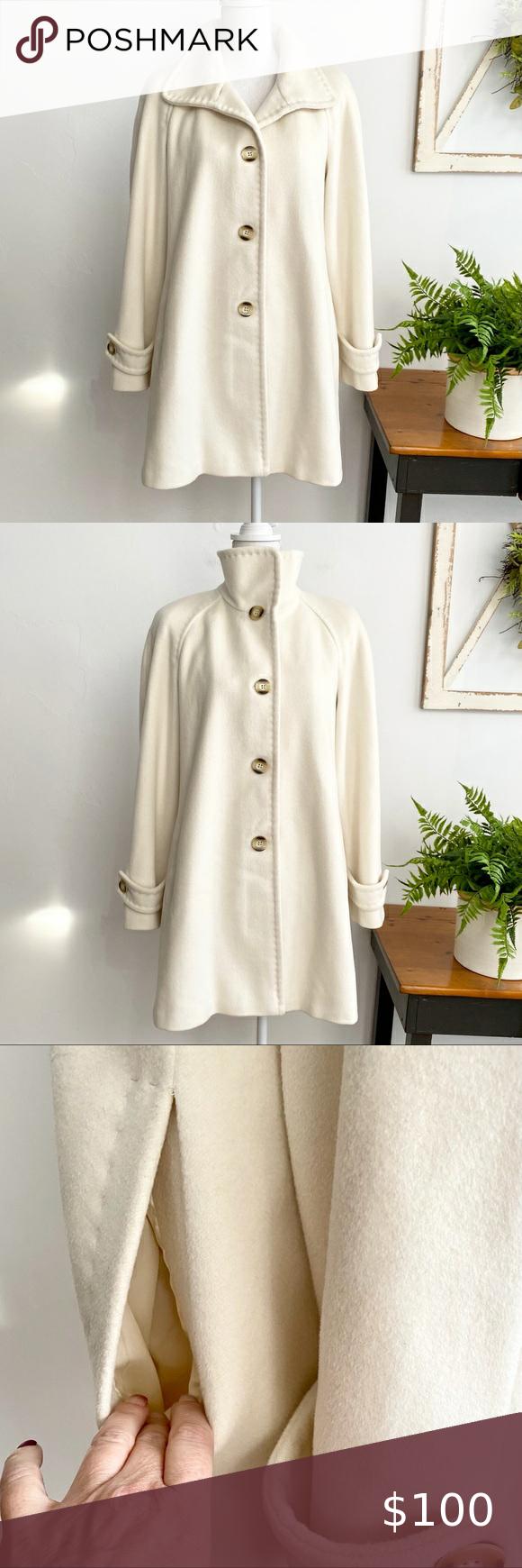 Ellen Tracy Ivory Wool Winter Dress Coat Sz 10 Winter Coat Dress Winter Dresses Leather Trim Cardigan [ 1740 x 580 Pixel ]