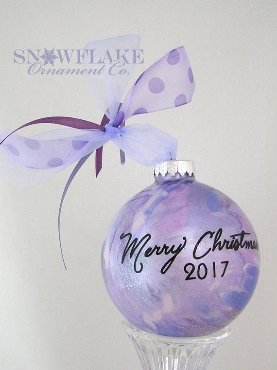 PURPLE GLAM Custom Christmas Ornament - Personalized Glass Gift