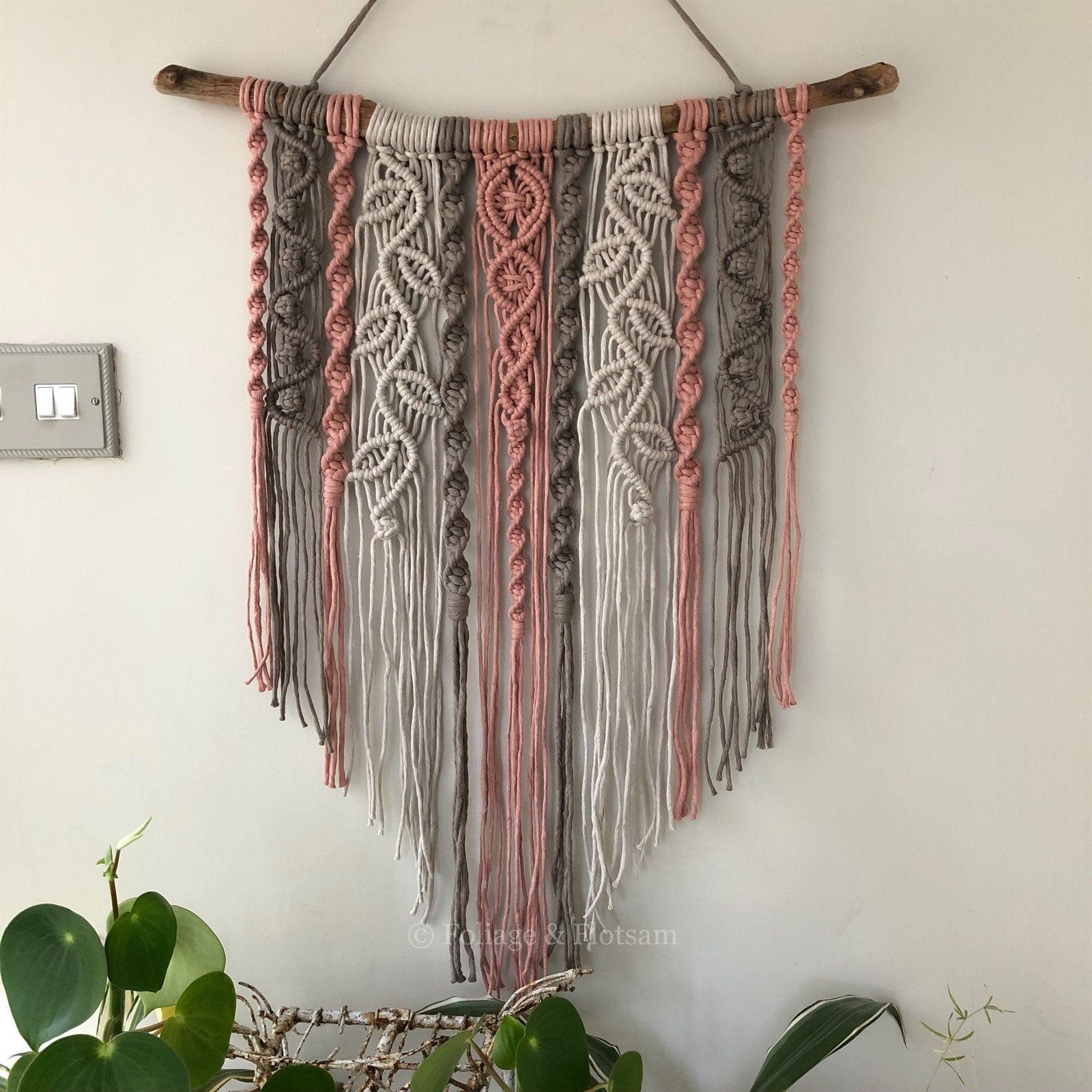 Large coloured macrame wall hanging, nursery Scandi style wall decor, boho interiors, woven leaves, bohemian living