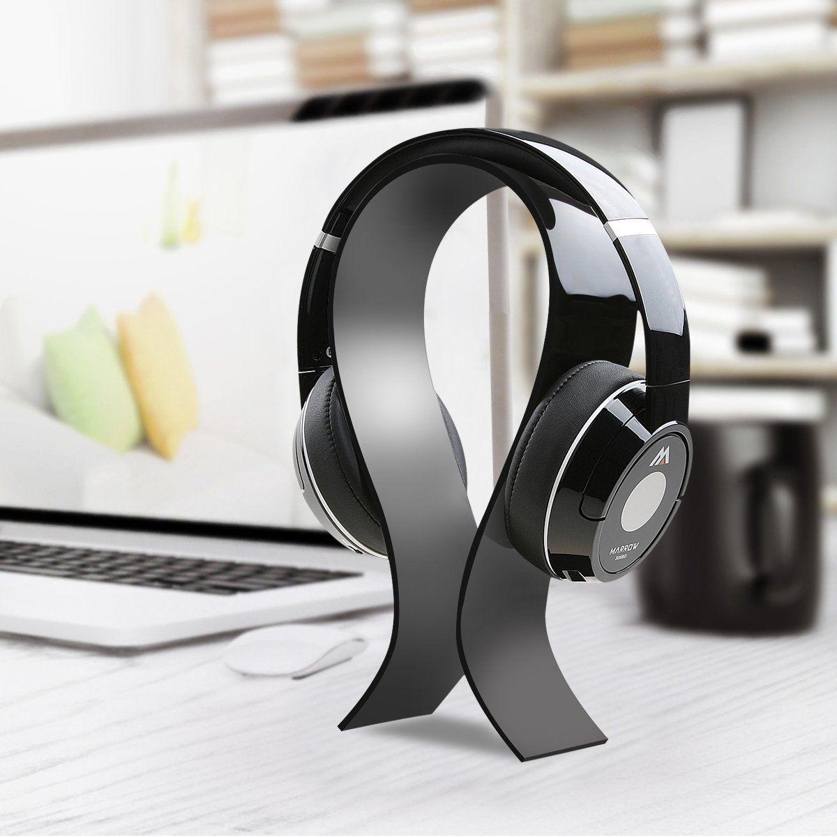 AmoVee Acrylic Headphone Stand Black Cell Phones
