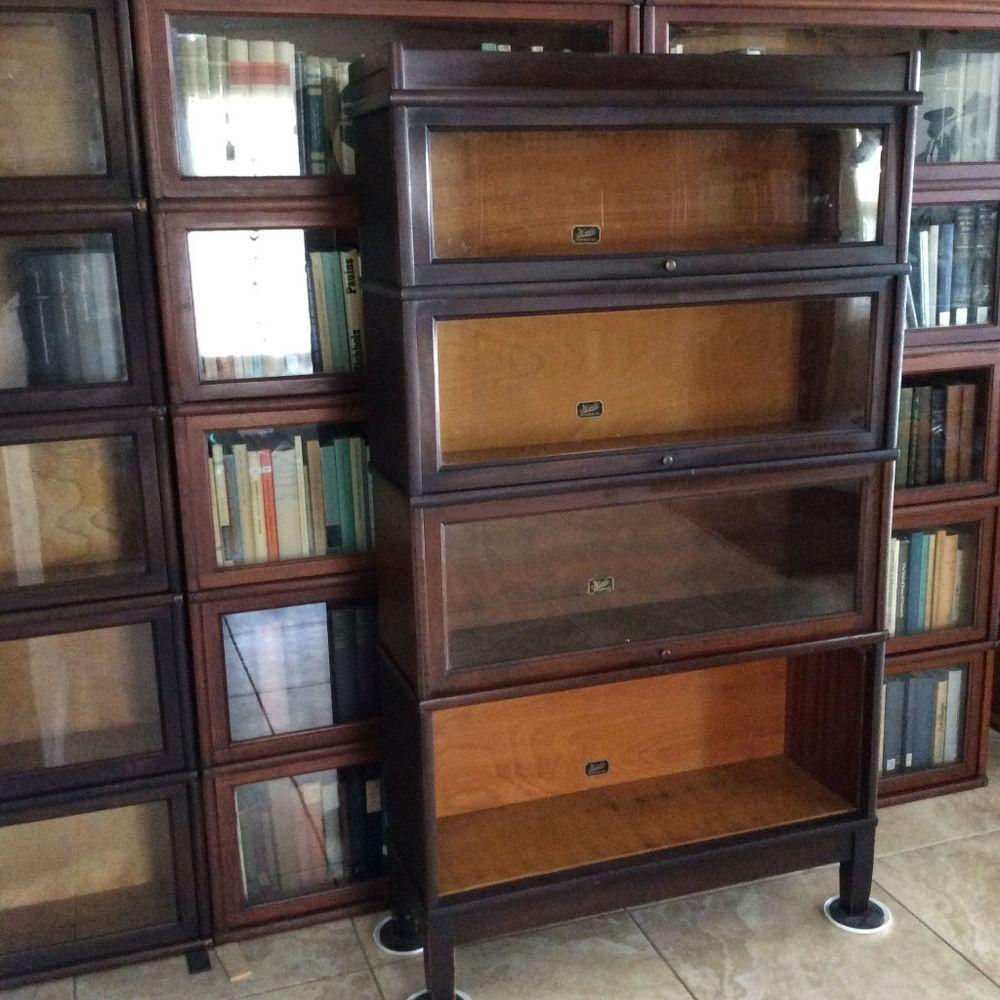 Hale Herkimer Antique Barrister Bookcase 4 Stack Mission Top
