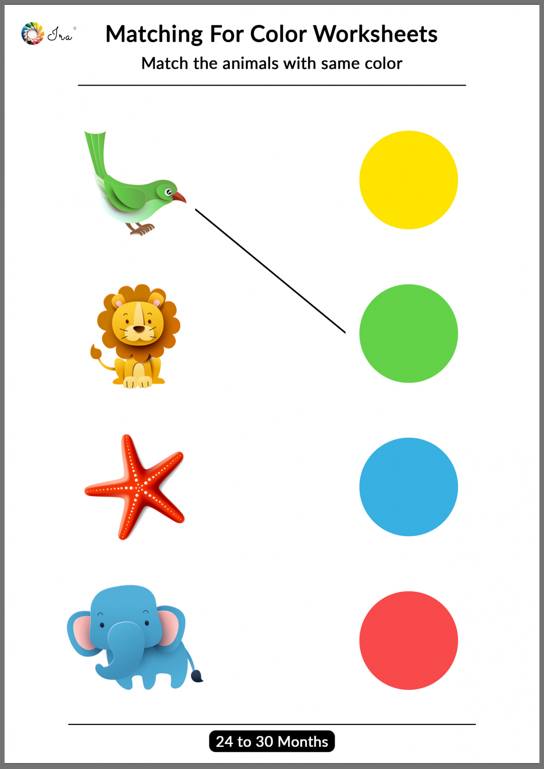 Printable Matching Colors Worksheets 24 30 Months In