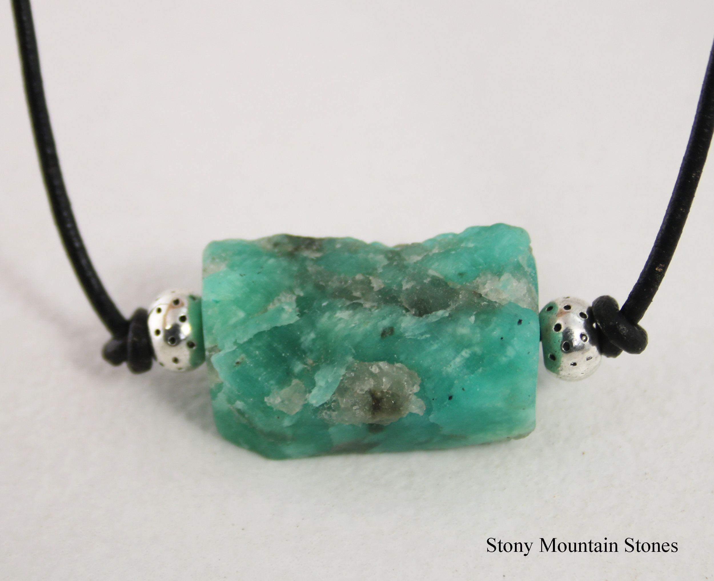 Rough Amazonite Crystal Pendant Necklace Mystical Metaphysical