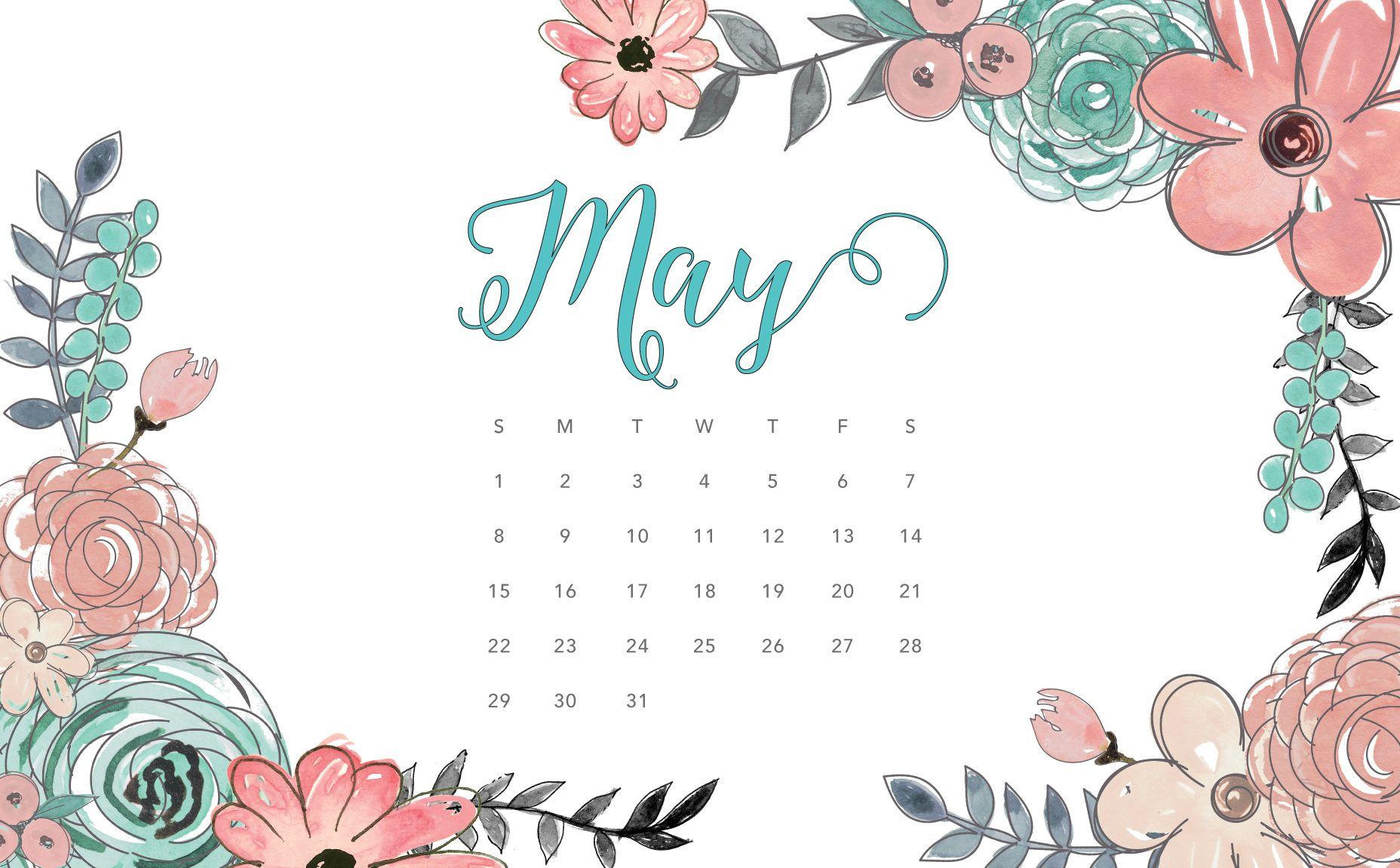 Desktop Calendar Floral Wallpaper Macbook Wallpaper
