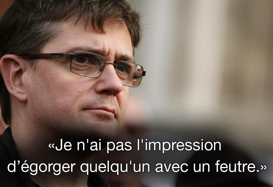 """Citation de Charb, le 19 septembre 2012, dans """"Le Monde"""". MAXPPP #CharlieHebdo #jesuischarlie"""