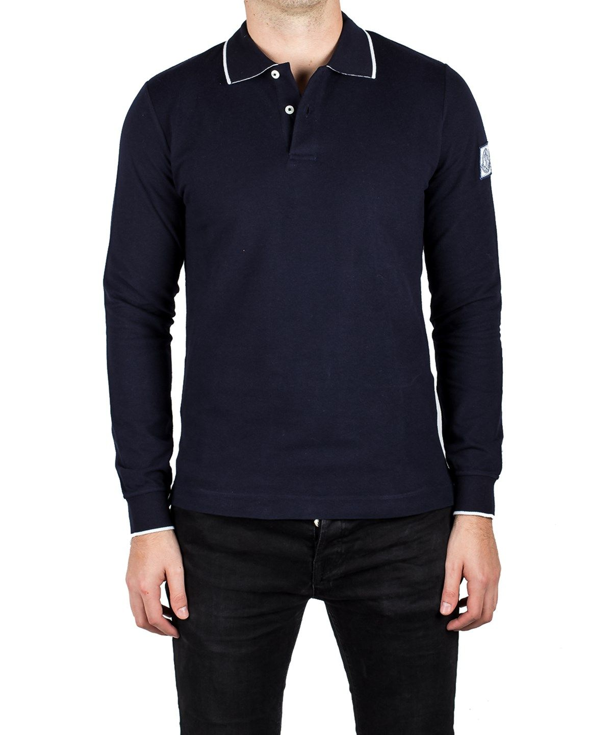 c8cdd50d37b0 MONCLER Moncler Men S Gamme Bleu Pique Cotton Long Sleeve Polo Shirt ...