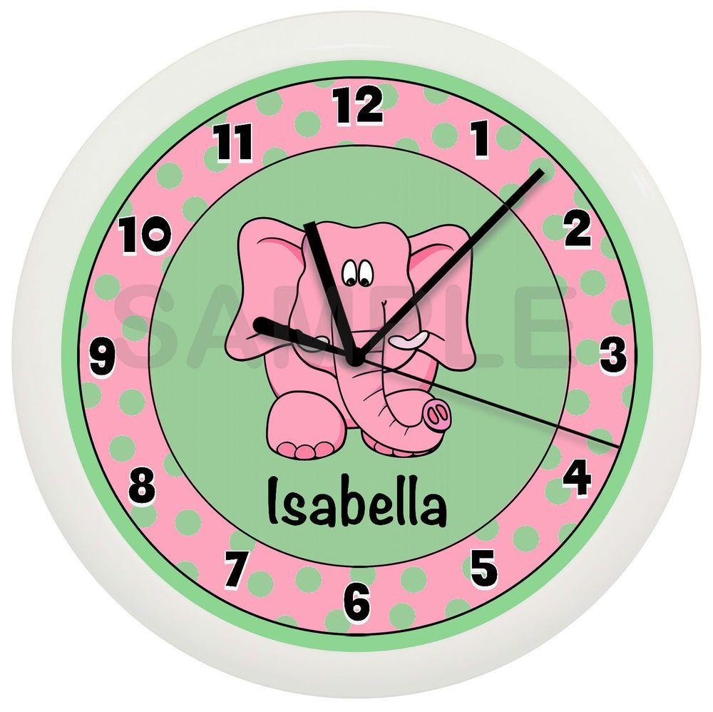 OMG, pink and green elephant nursery clock…in love!