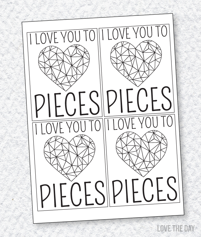 Valentine Cards To Color PRINTABLE by Love The Day  Adult