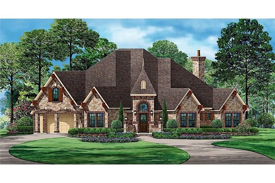 European Style Home 4 Bedrms 5 Baths 3705 Sq Ft Plan 195 1236 Castle House Plans Affordable House Plans European Style Homes