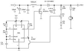 A simple flyback converter high voltage power supply for