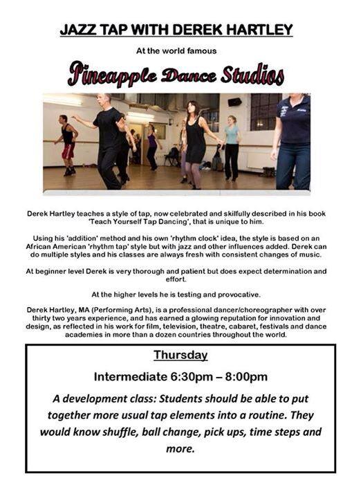 Derek Hartley Jazz tap Pineapple studios Fancy a tap class