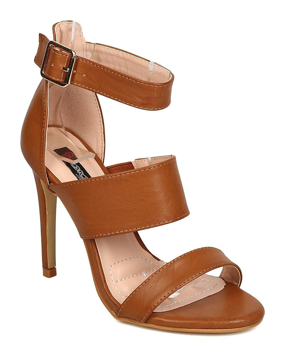 f8b1bdb84b52 DbDk FA85 Women Leatherette Open Toe Triple Band Stiletto Sandals -- See  this great product.