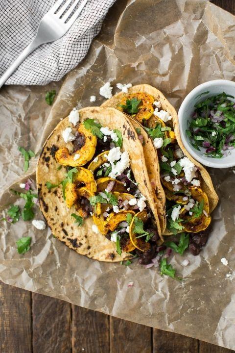 Delicata Squash Tacos with Black Beans via Naturally Ella