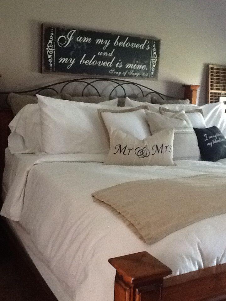 Fluffy white bed...