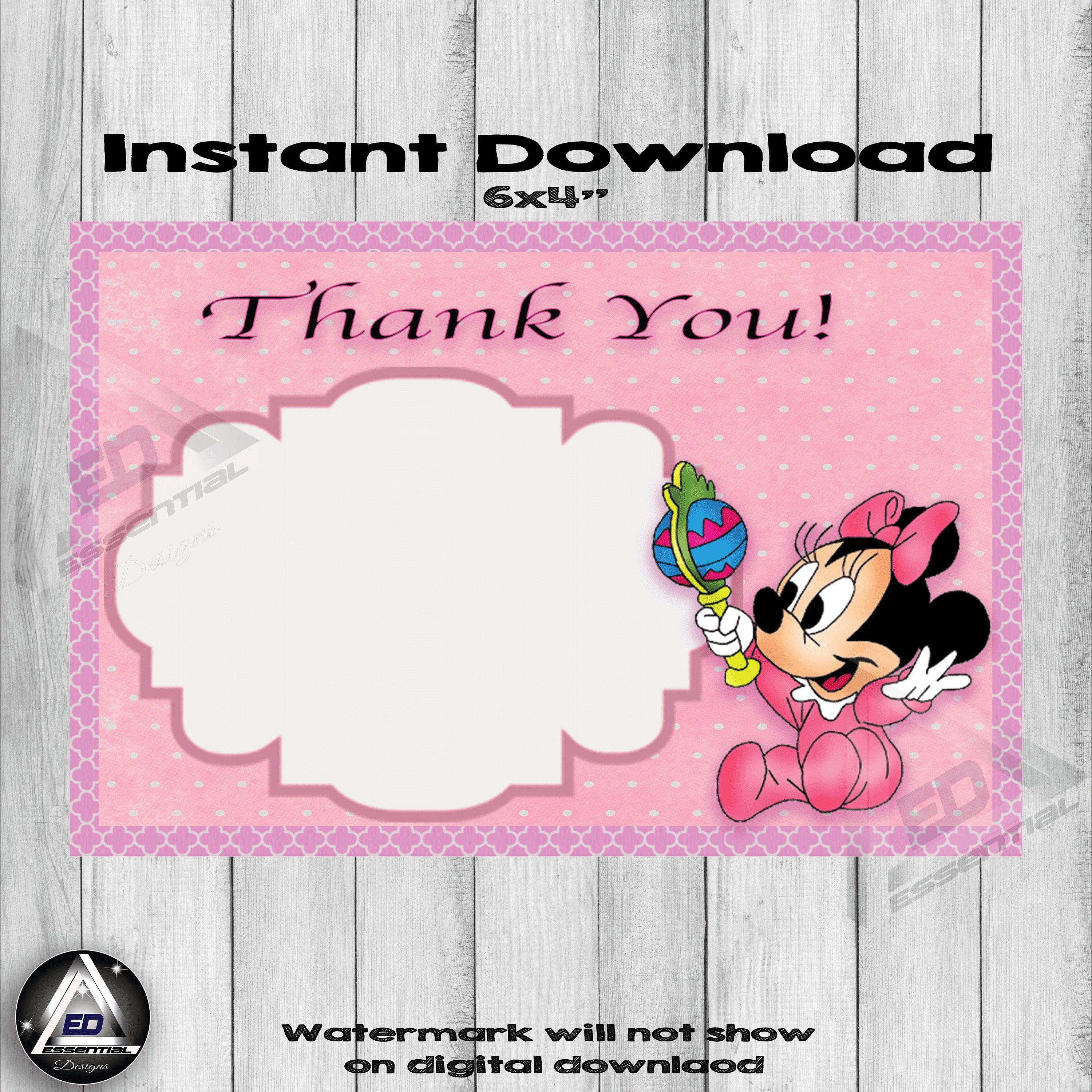 Baby Minnie Mouse Thank You Card Minnie Mouse Birthday Card First