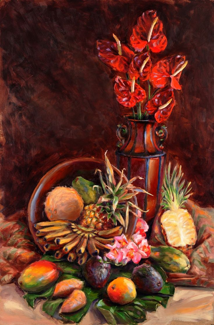 Artfinder My Hawaii Tropical Still Life Oil P By Karen Whitworth One Of The Things I R Still Life Painting Original Oil Painting Art Paintings For Sale