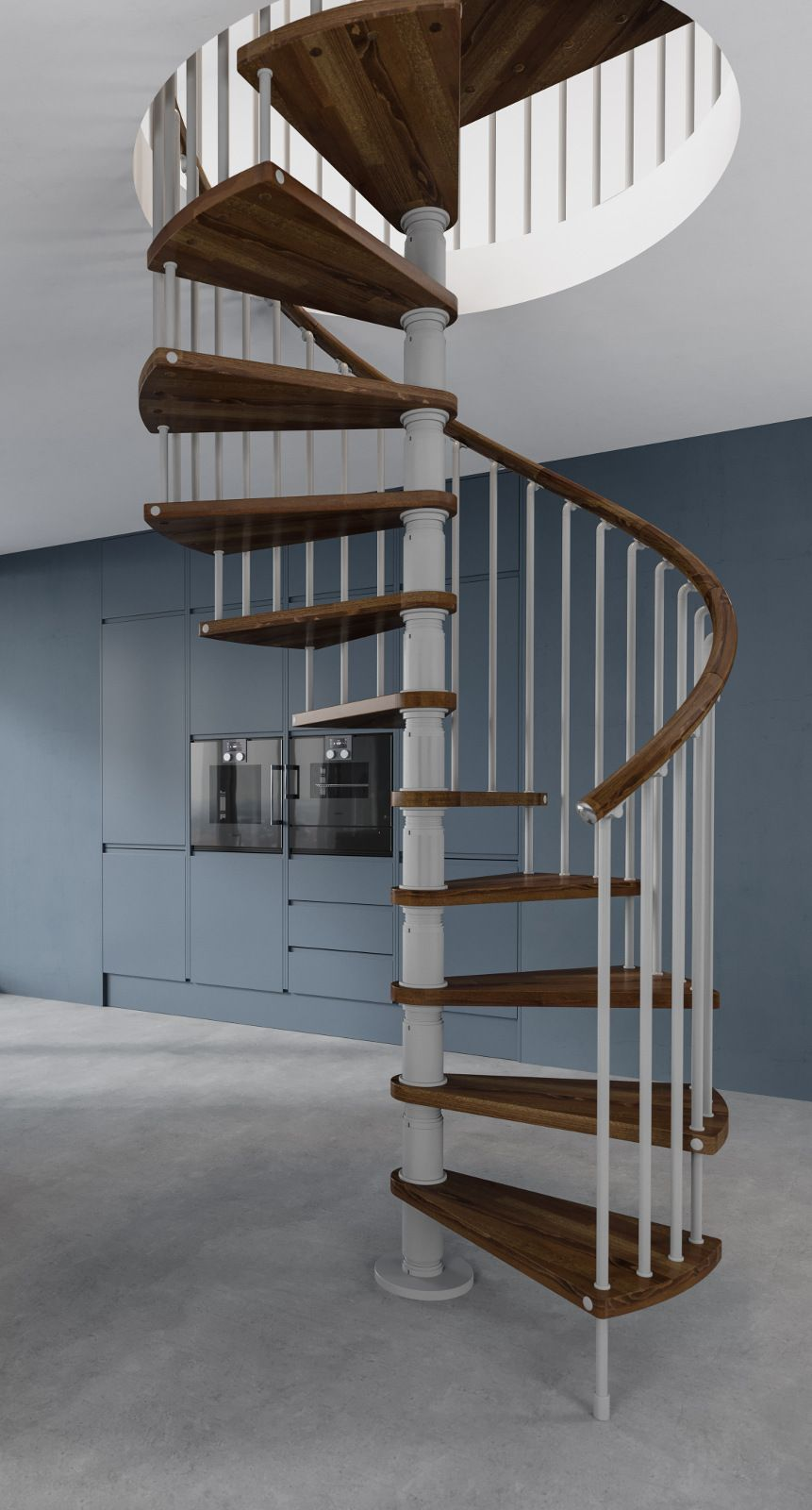 Best Gamia Wood Deluxe Spiral Stair Kit 1200Mm Spiral 640 x 480