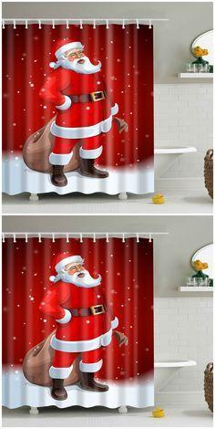 Merry Christmas Santa Claus Waterproof Bathroom Curtain Merry