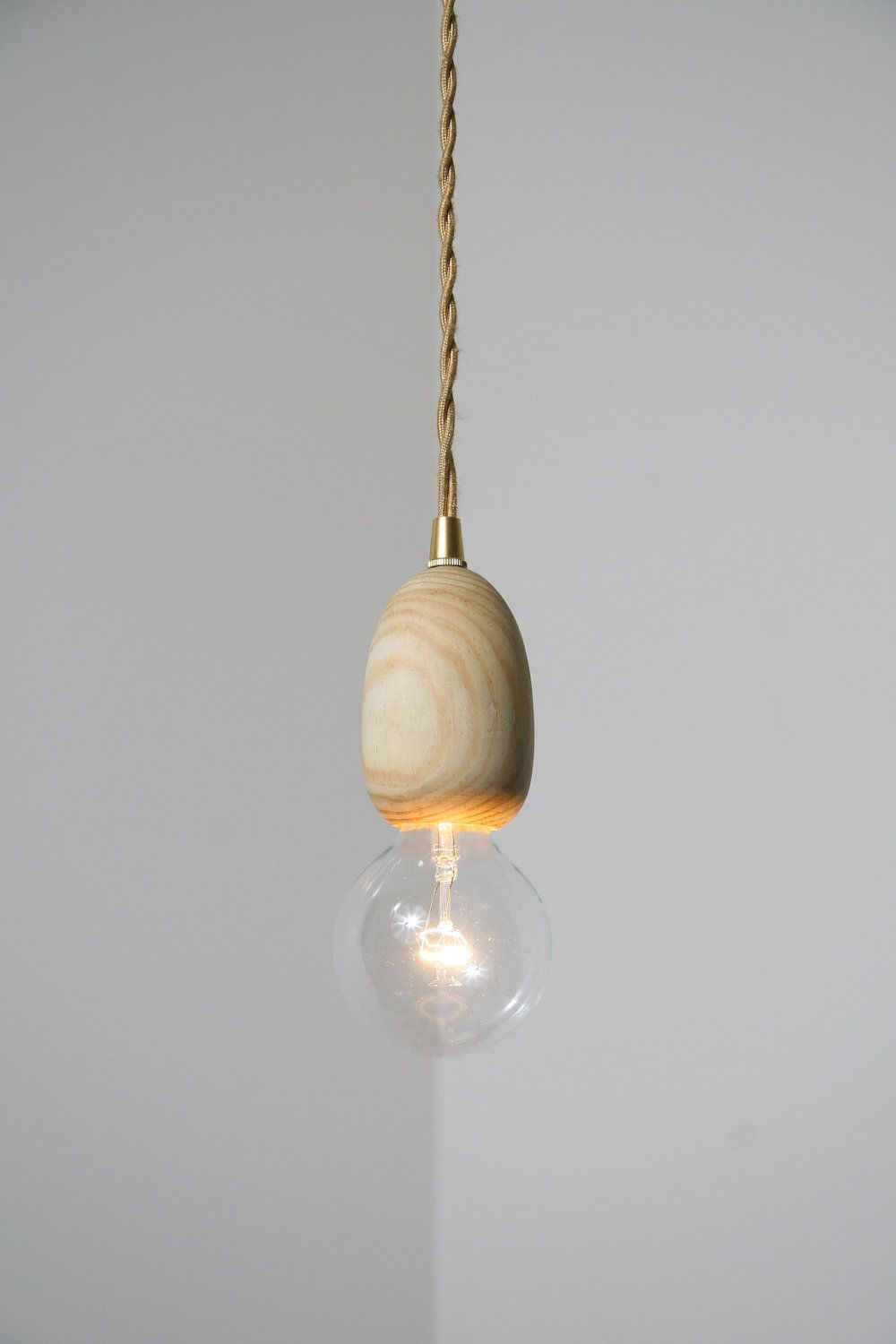 Mushroom handmade wood pendant light brass cloth wire light