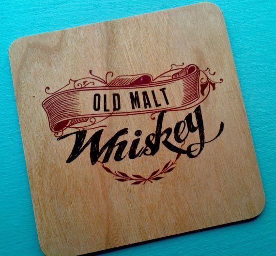 Vintage Liquor Wood Veneer Coasters for Bar or gifts for Men - Set of 4