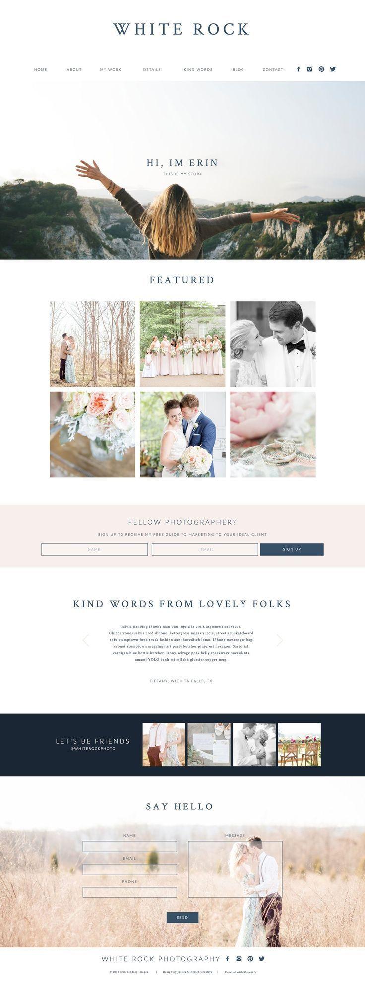White Rock Showit Template Showit Modern Website Design Website Template Design