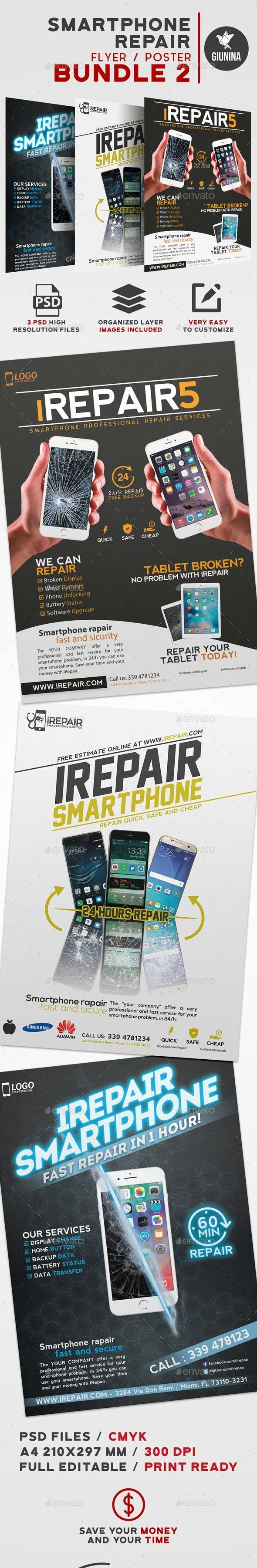 Battery Broken Bundle Cellular Damaged Display Electronics Fast Fix Flyer Mobile Pack Pad Ph With Images Smartphone Repair Business Flyer Templates Smartphone