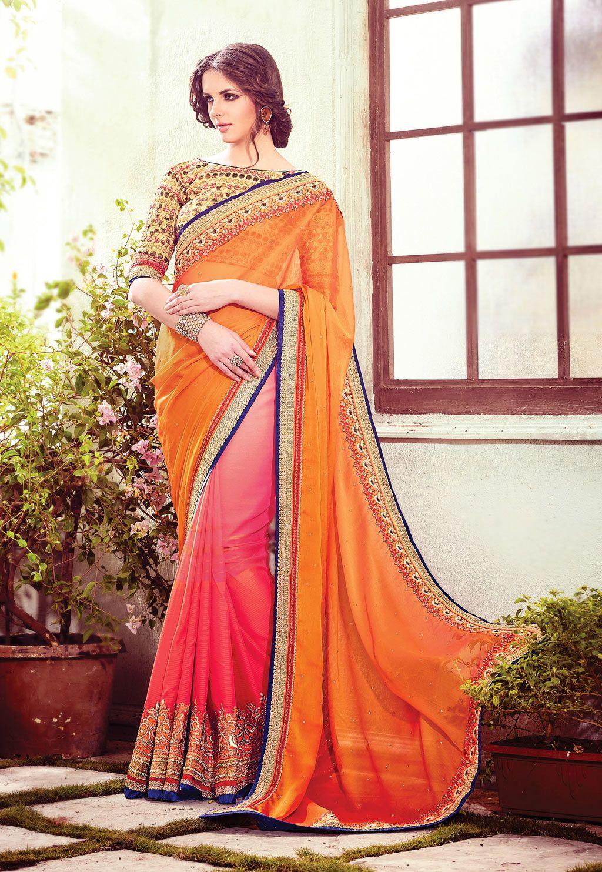 Peach color saree for wedding orange satin chiffon wedding saree   sarees  pinterest