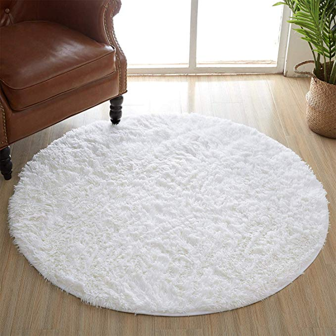 Amazon Com Amangel Round White Area Rugs 4 X 4 Feet Super Soft Comfy Fuzzy Circle Fur Rugs For Women Bedroom Ki In 2020 Rugs On Carpet Bedroom Area Rug Woman Bedroom