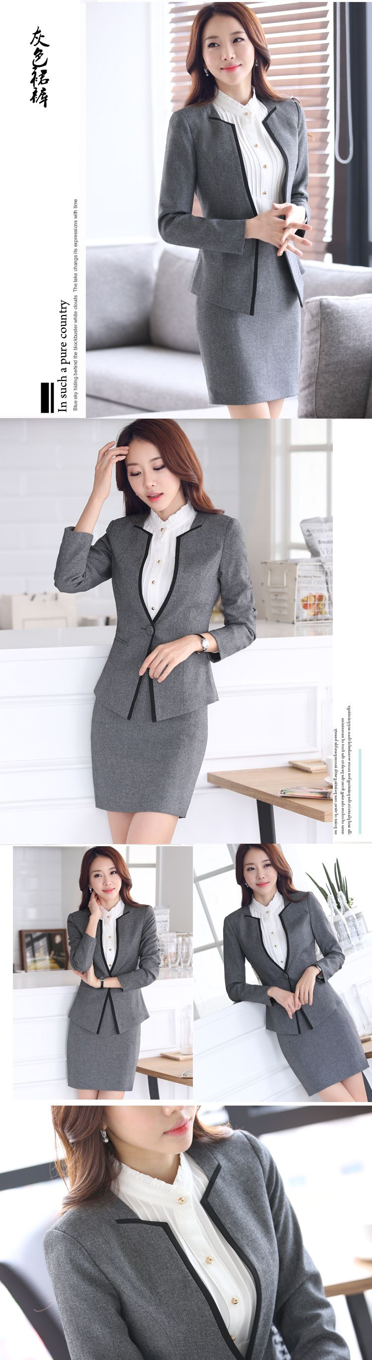 2016 New Formal Women Suits With Pant For Office Las Business V Neck Suit Red Black Gray Professional Workwear Clothes Nice Plus Size Clothing