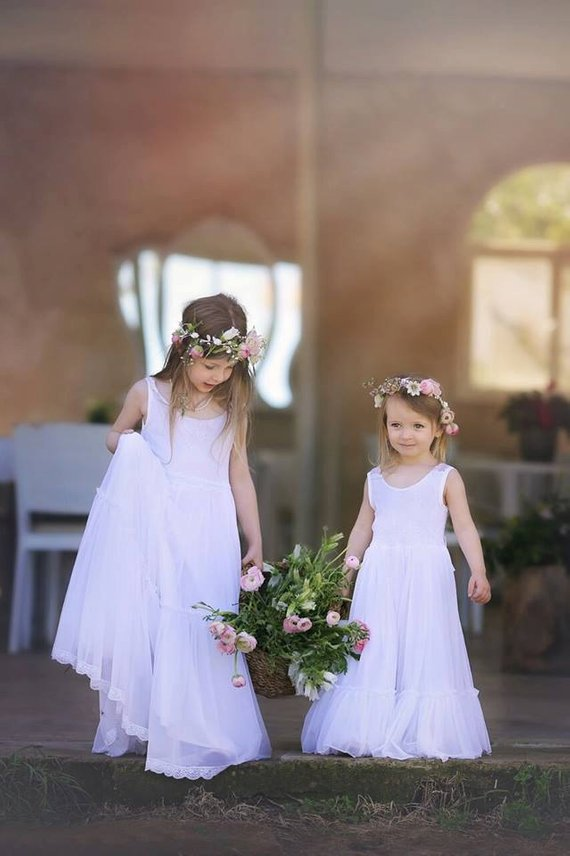 1b5a2425f76a BLACK FRIDAY Wedding White Lace Flower Girl Dress,Bohemian Wedding, Floor  Length Lace Flower Girl Dr