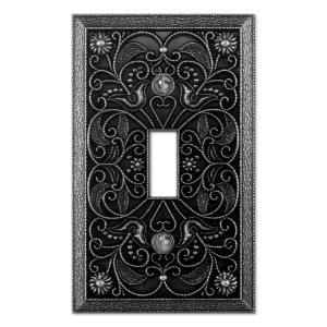 Creative Accents Arabesque 1 Gang Toggle Wall Plate Antique Pewter 9dcp101 At The Home Depot Plates On Wall Tuscan Decorating Switch Plate Covers