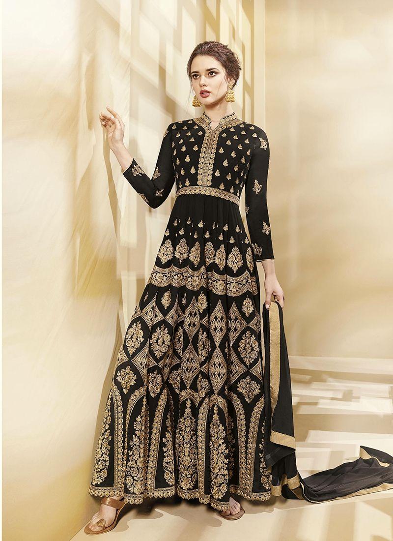 24005597ed Black Georgette Resham Worked Anarkali Suit | Paridhan Clothing ...