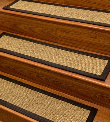 carpet stair treads and rugs 9 x 29 studio sisal natural fiber black cotton binding