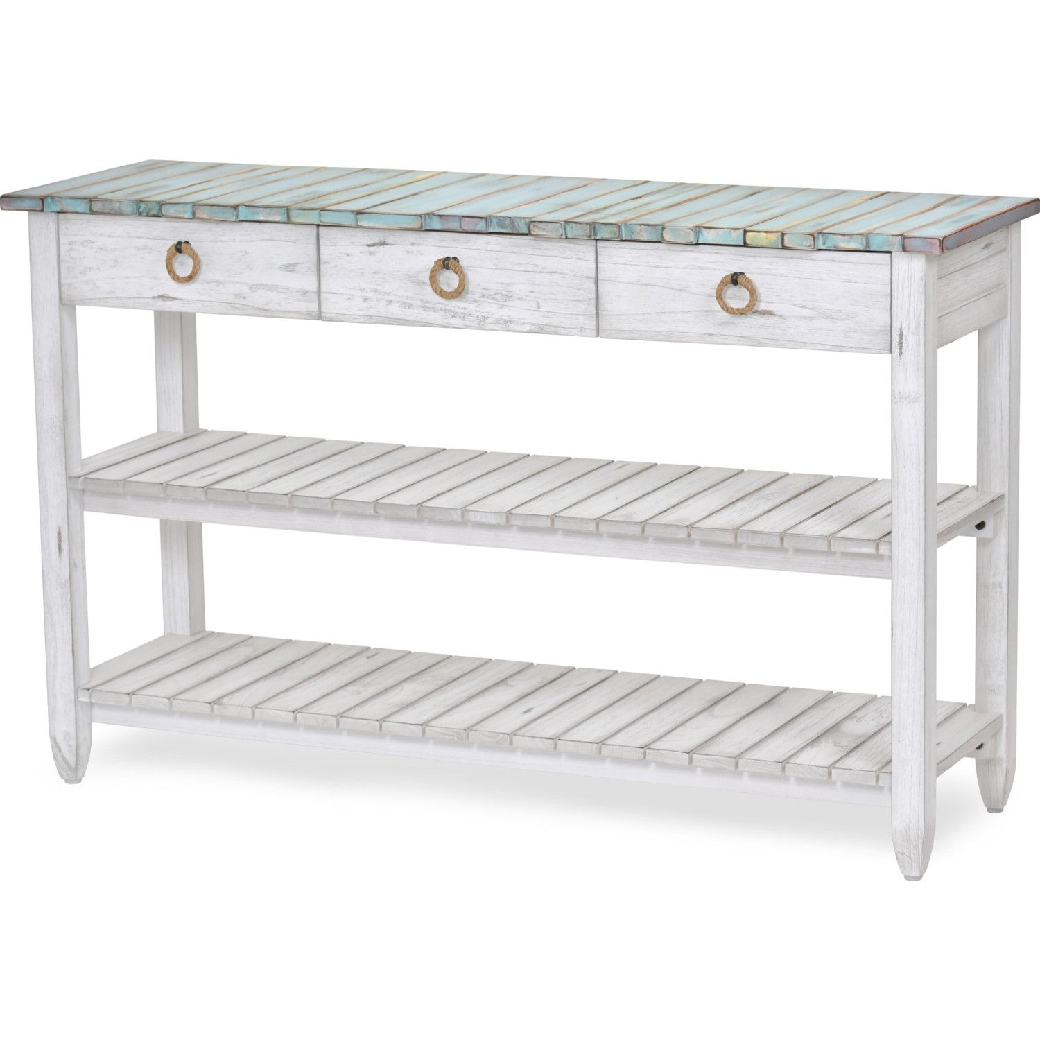 Sea Winds B78219 Dbleu Wh Picket Fence 52 Tv Stand Console Table