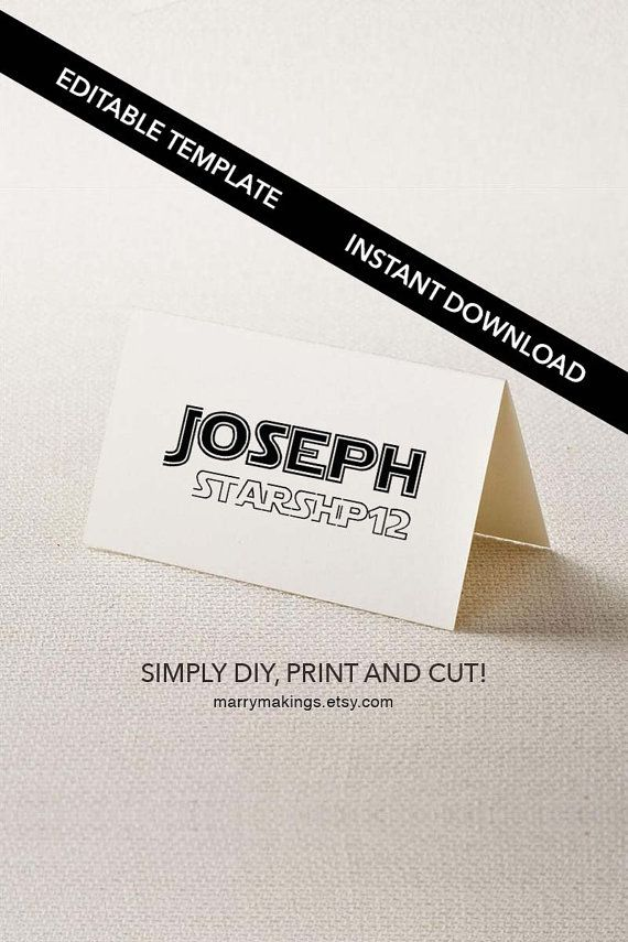Diy Place Cards Template Placecard Escort Card Printable Editable Wedding Starwarsspace16B