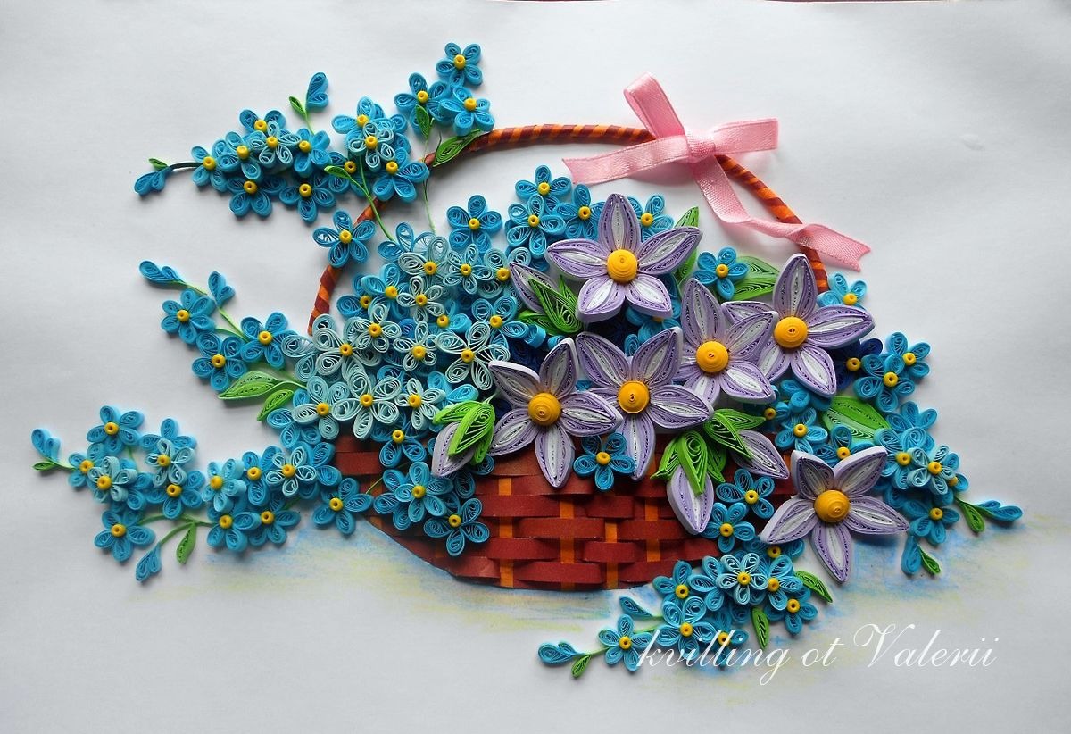 Pin by heidi rucki on quilling artistry pinterest quilling basket full of quilled flowers mightylinksfo
