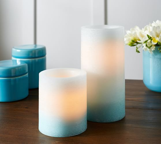 Pottery Barn Flameless Candles Endearing Turquoise Ombre Flameless Pillars At Pottery Barncandle