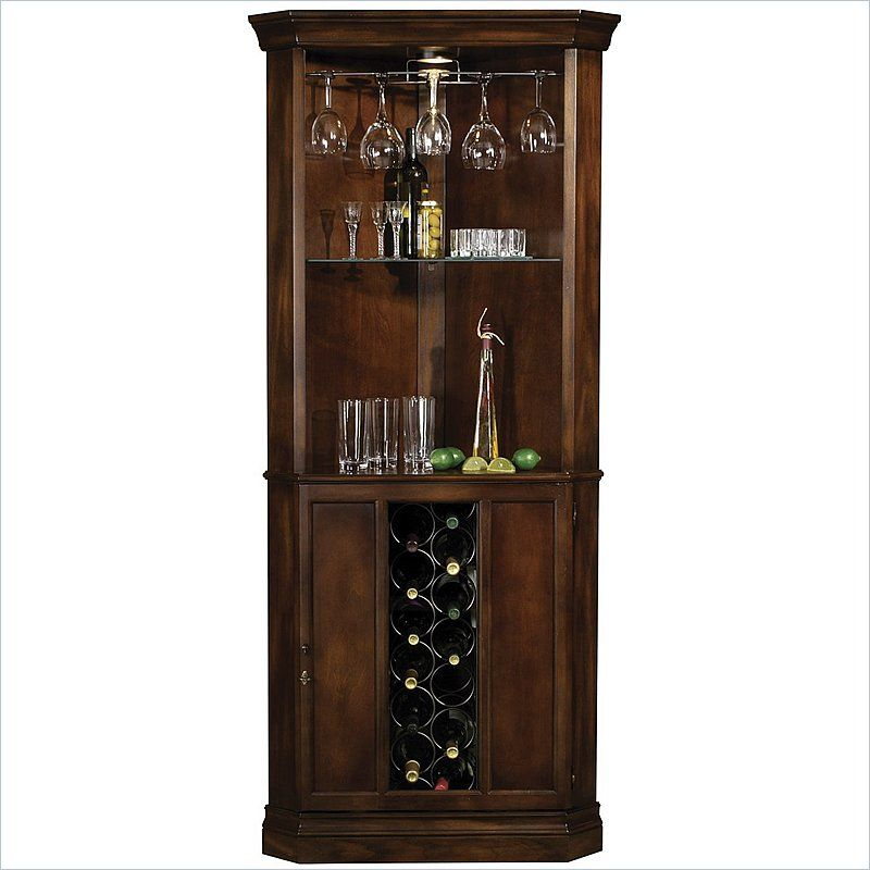 Howard Miller Piedmont Wine and Spirits Corner Home Bar Cabinet in Cherry. Howard Miller Piedmont Wine and Spirits Corner Home Bar Cabinet in