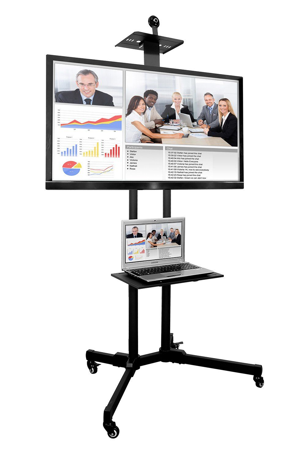 Mount It Mi 876 Tv Cart Mobile Tv Stand Wheeled Height Adjustable