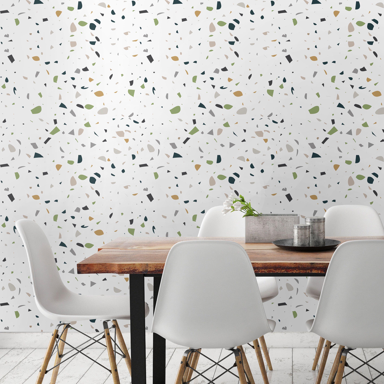 Terrazzo Green White Terrazzo Pattern Wallpaper Wall Etsy Terrazzo Wallpaper Walls Decor Decor