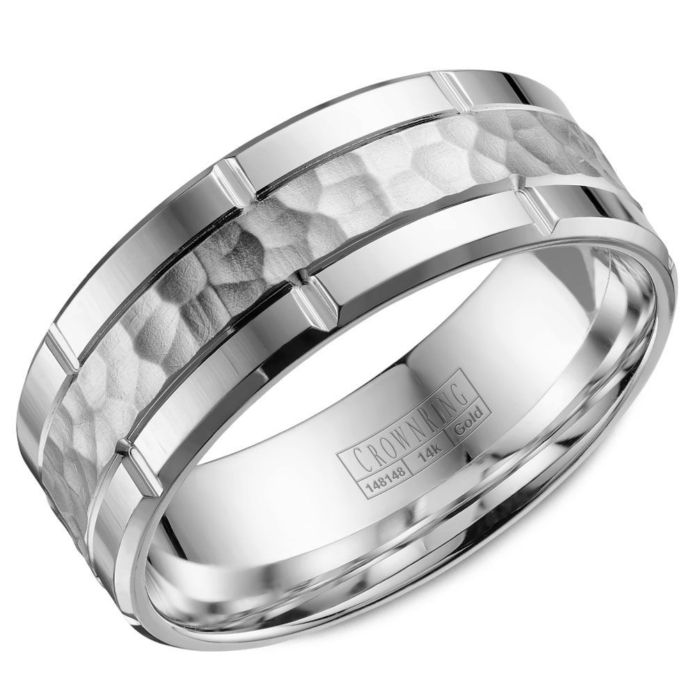 This Trendy White Gold Mens Wedding Band With A Hammered Finish And Line Detailing Is Crafted
