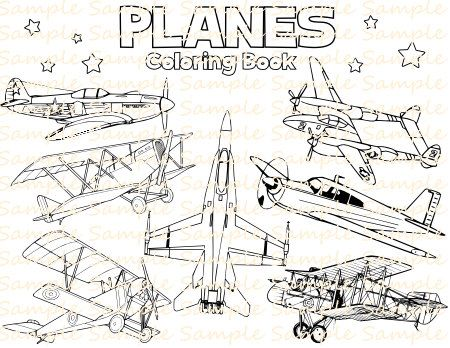 Plane Coloring Book Printable Airplane Coloring Pages Vintage Etsy Airplane Coloring Pages Vintage Planes Coloring Books