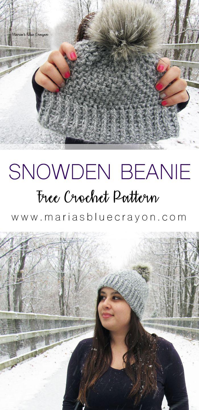 Snowden Crochet Beanie | Free Crochet Hat Pattern | Faux Knit ...