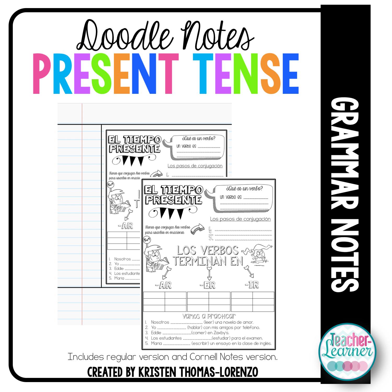 Doodle Notes Present Tense Verbs