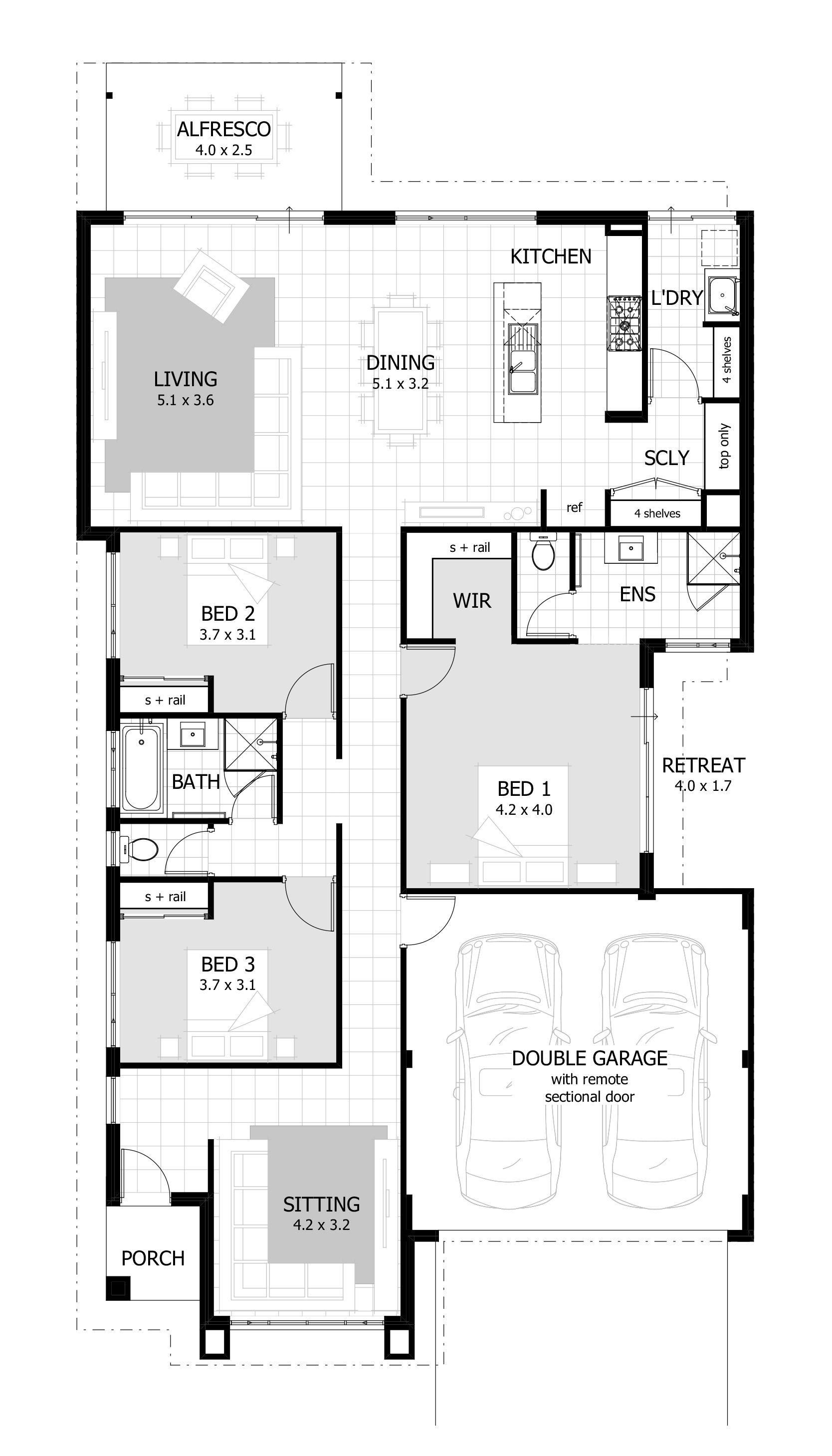 Browse our range of 3 Bedroom House Plans | House plans in ... on l-shaped range home plans, l shaped garage plans, indoor range plans, steel frame homes floor plans,
