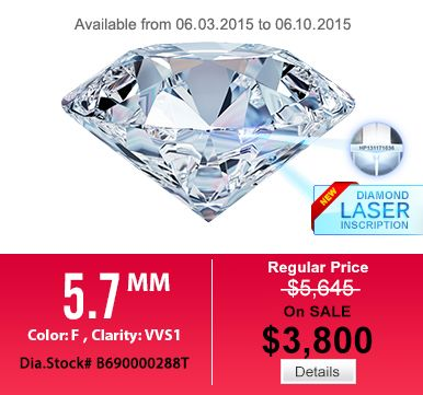 [HUNG PHAT USA - WEEKLY DIAMOND SALE] This Round Excellent cut, F color, VVS1 clarity, diamond accompanied by a Hung Phat USA grading report. Regular Price: $5,645 Sale Price: $3,800 Available from 05.27.2015 to 06.03.2015.  Detail: http://tinyurl.com/5-7mm-rounddiamond Come to hungphatusa.com to choose the best one for yourself  # Diamond, # HungPhatUSA