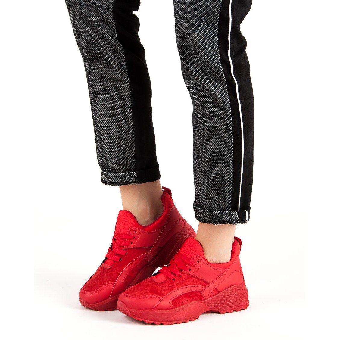 Small Swan Czerwone Sneakersy Na Platformie Wedge Sneaker Shoes Sneakers