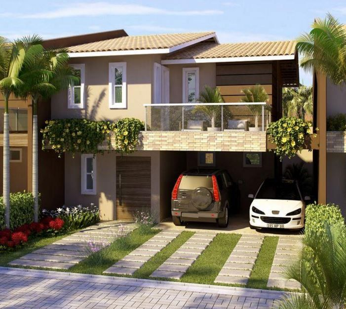 Imagenes de fachadas de casas modernas con balcon for Casas modernas con jardin