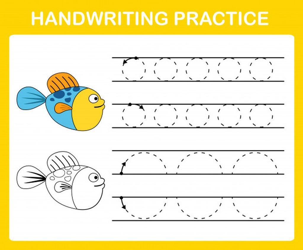 Handwriting Practice Sheet Illustration Paid