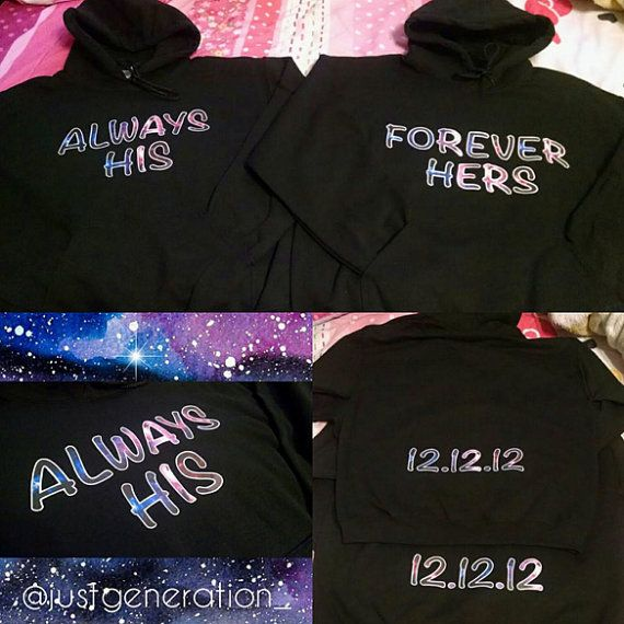 aec45050e3 Matching His & Hers Couple Hoodies w/ Custom Date | boyfriend+ ...